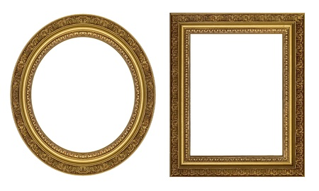round frame: Oval and rectangular gold picture frame with a decorative pattern
