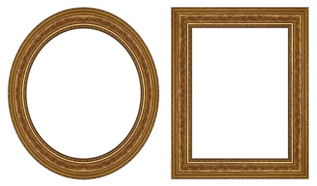 Oval and rectangular gold picture frame with a decorative pattern Фото со стока - 9797425