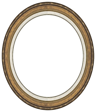 Oval gold picture frame with a decorative pattern Stock Photo - 9797398