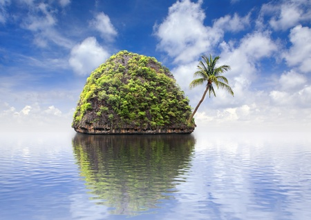Beautiful island with a palm tree at ocean, Thailand photo