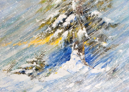 hand made: Fir-tree in snow. A picture drawn by oil Stock Photo