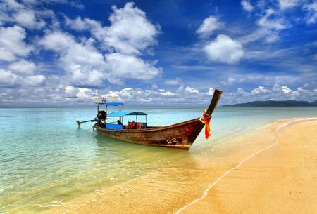 destinos: Barco tailand�s tradicional, Tailandia, Phuket Foto de archivo
