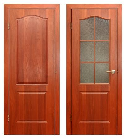 wood door: porte en bois isol�e sur fond blanc Banque d'images