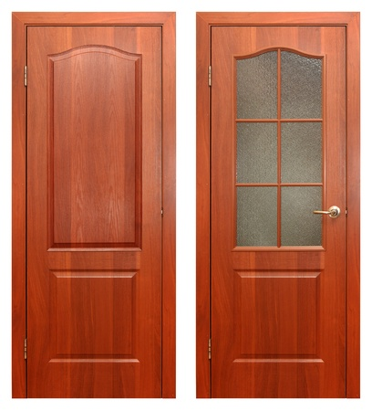 front entry: wooden door isolated on white