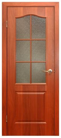 fermer la porte: porte en bois isol�e sur fond blanc Banque d'images