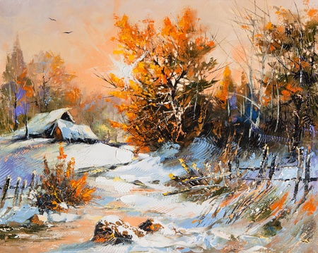 landscape painting: Rural winter landscape