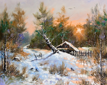 street painting: Rural winter landscape