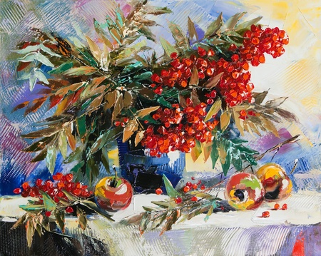 Still-life with a mountain ash and apples