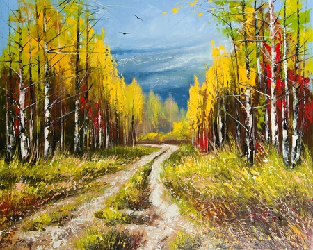 creative pictures: Oil Painting - gold autumn