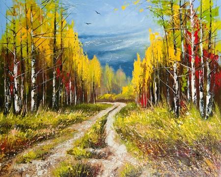 Oil Painting - gold autumn Stock Photo - 10061274