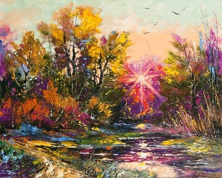 Pintura al óleo - disminución de otoño