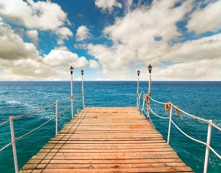 Pier in the sea, Turkey Фото со стока
