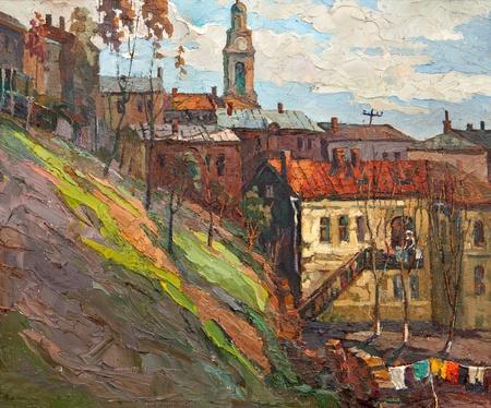 Kind on city, oil on a canvas Фото со стока - 11012069