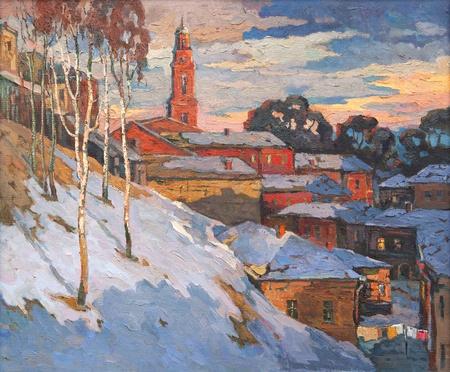 Kind on a winter city, oil on a canvas  Standard-Bild