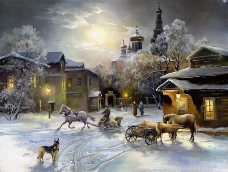 Rural landscape, oil on a canvas Standard-Bild
