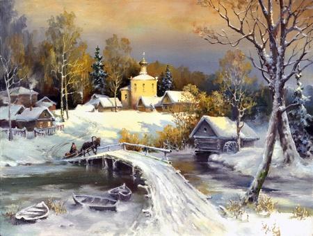 Rural landscape, oil on a canvas photo