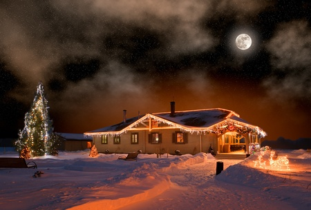 suburban home: The house in village in Christmas night