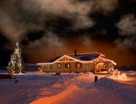 holiday house: The house in village in Christmas night