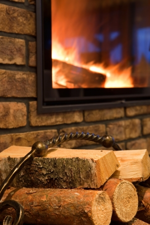 Fire wood against a fireplace photo