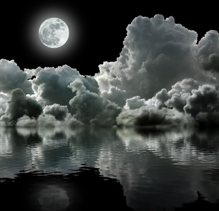 utopia: Moon in black stormy clouds