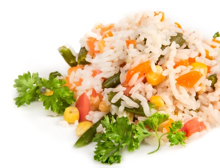 cooked rice: pilaf with rice and greens on a white background