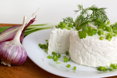 cottage cheese with greens and onions on a plate photo