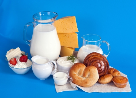 still life with dairy products and rolls photo