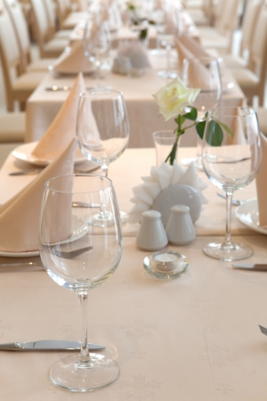 the served tables at restaurant photo