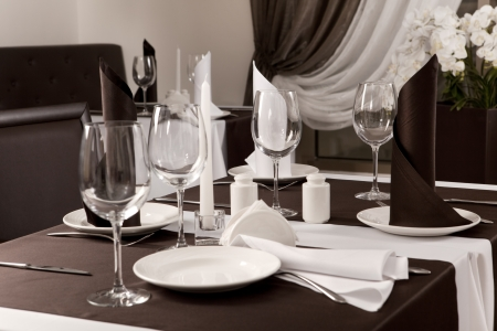 formal dinner party: laid the table at restaurant