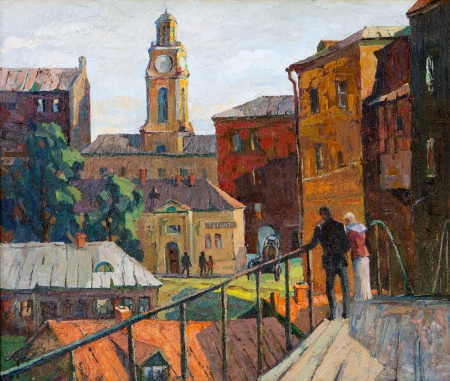 impressionism: the city landscape of Vitebsk drawn with oil on a canvas