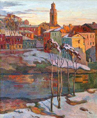 paisaje vintage: el paisaje de la ciudad de Vitebsk elaborado con aceite en un lienzo