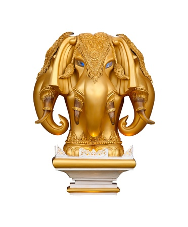 idol: statue of a gold elephant on a white background