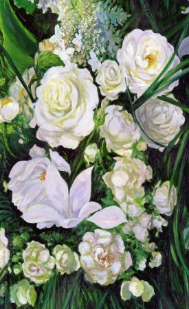 bouquet of white roses, canvas, oil photo