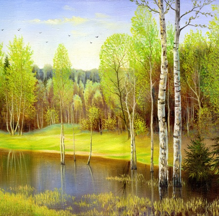 oil painting: autumn landscape, canvas, oil