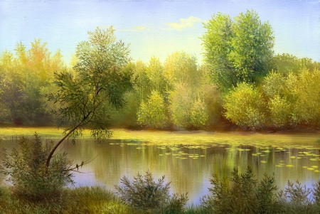 autumn landscape, canvas, oil