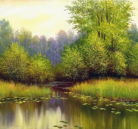 and painting: paisaje hermoso verano, lona, ??aceite