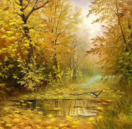 beautiful autumn landscape, canvas, oil photo