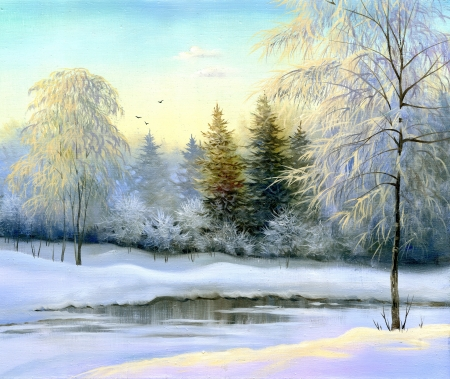 beautiful winter landscape, canvas, oil photo