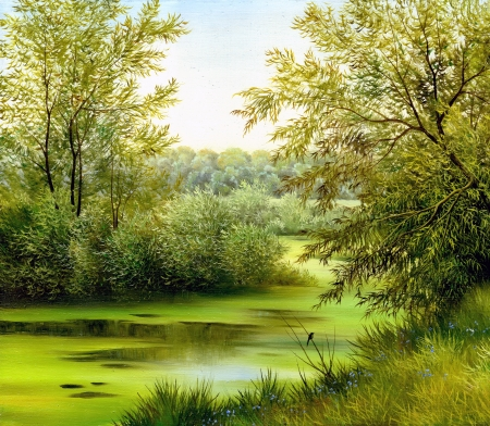 oil painting: beautiful summer landscape, canvas, oil