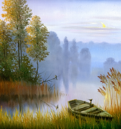 the boat on the bank of the lake, a canvas, oil