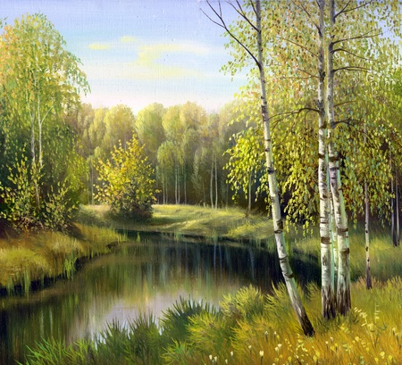 autumn landscape, canvas, oil photo