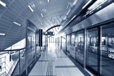 DUBAI - OCTOBER 22: Dubai Metro Terminal on October 22, 2012 in Dubai, United Arab Emirates. The Metro is one of most effective way to explore and discover Dubai City.