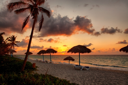 Beach at sunset, Varadero, Cuba photo