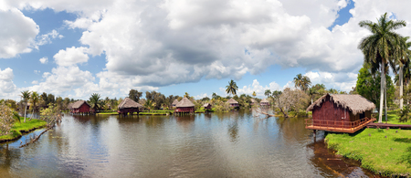 Cuban village on the river, panorama photo