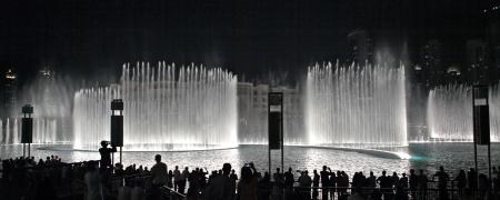 united arab emirate: DUBAI, UAE - OCTOBER 30: A record-setting fountain system set on Burj Khalifa Lake - 6600 lights and 25 projectors, it shoots water 150 m into the air, at October 30, 2012 in Dubai, United Arab Emirate