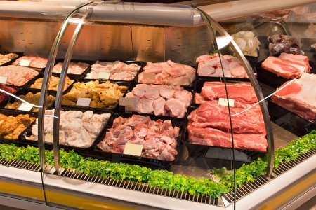 Frozen meat: VITEBSK, BELARUS - JULY 19: Shopping center Hanna on july 19, 2012 in Vitebsk, Belarus. Hanna is one of the largest Belarusian companies  Stock Photo