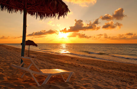 Beach at sunset, Varadero, Cuba  photo