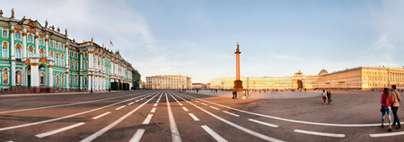 ST. PETERBURG, RUSSIA - AUGUST 29: The Alexander Column at Palace Square in St. Petersburg, Russia on August 29, 2013. The monument was erected after the Russian victory in the war with Napoleon