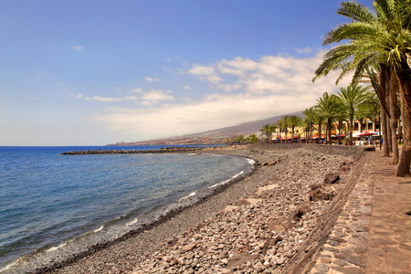 tent city: Beautiful send beach in Adeje Playa de las Americas on Tenerife, Spain.