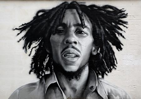VITEBSK, BELARUS - NOVEMBER 26: Graffiti portrait of Bob Marley, a famous Jamaican reggae singer-songwriter and guitarist on november 26, 2014 in Vitebsk, Belarus